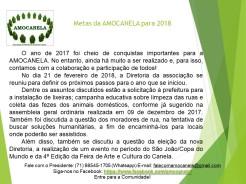 Metas da AMOCANELA para 2018