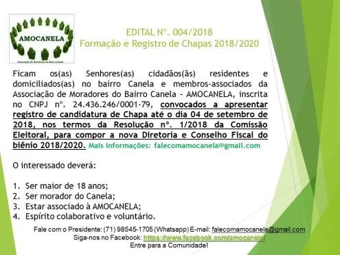 FORMAÇÃO DE CHAPAS 2018
