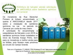 Prefeitura de Salvador atende solicitação da AMOCANELA sobre banheiros químicos no Carnaval